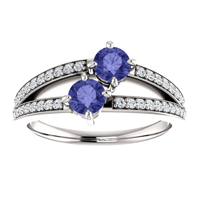 Half Carat Tanzanite and Diamond Two Stone Ring in 14K White Gold