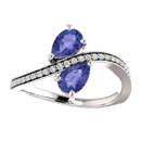 Tanzanite and Diamond Two Stone Ring in 14K White Gold