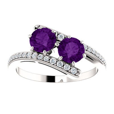 Two Stone Amethyst Ring with Diamond Accent in 14K White Gold