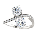Two Stone CZ Ring in 14K White Gold
