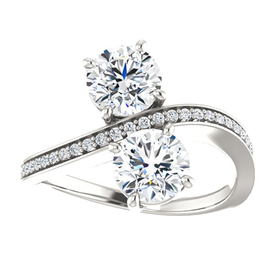 Two Stone CZ Ring in Sterling Silver