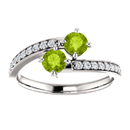 14k White Gold Two Stone Peridot Ring with Diamond Accents