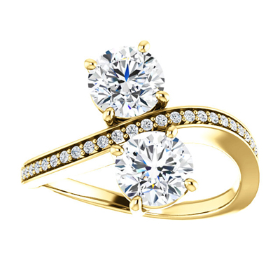 Two Stone CZ Ring in 14K Yellow Gold
