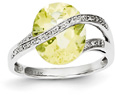 4.50 Carat Lemon Quartz and Diamond Ring, 14K White Gold