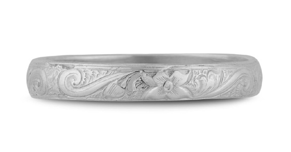 Handmade Paisley Floral Wedding Band, 14K White Gold