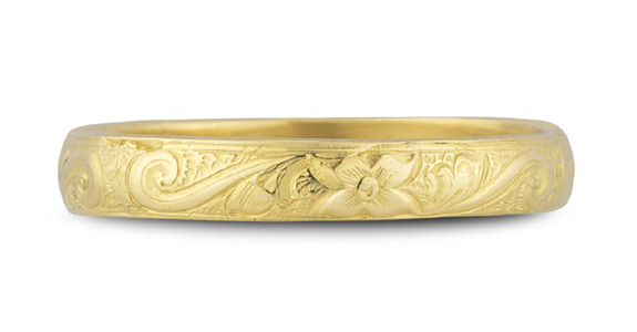 Handmade Paisley Floral Wedding Band in 14k Yellow Gold