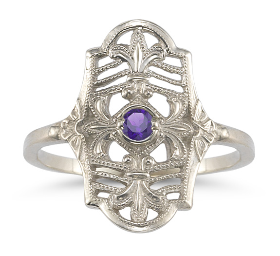 Vintage Fleur-De-Lis Amethyst Ring in 14K White Gold