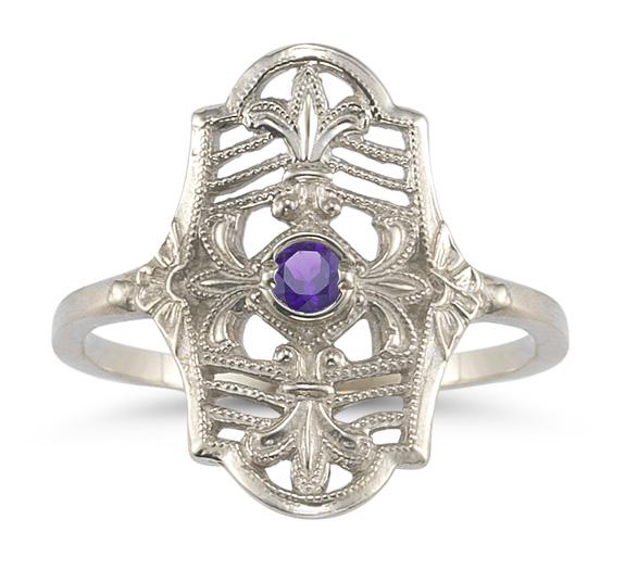 Victorian Jewelry Rings, Earrings, Necklaces, Hair Jewelry Vintage Fleur-de-Lis Amethyst Ring in .925 Sterling Silver $199.00 AT vintagedancer.com
