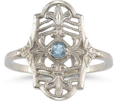 Vintage Fleur-de-Lis Aquamarine Ring in 14K White Gold