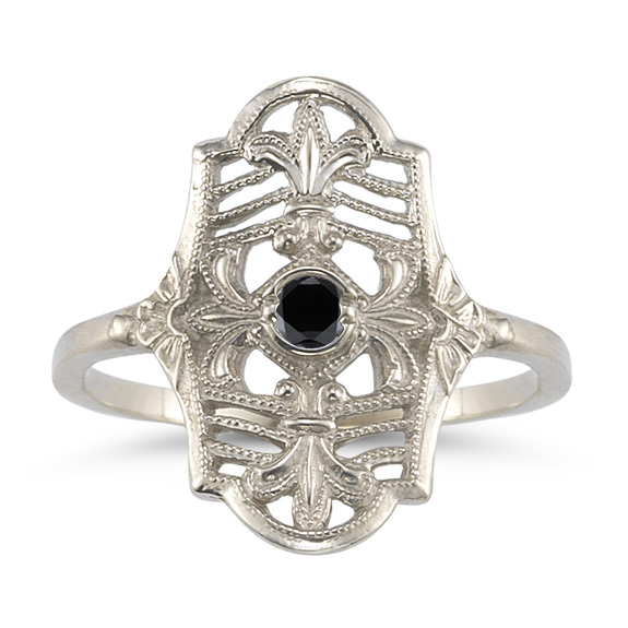 Vintage Fleur-De-Lis Black Diamond Ring in 14K White Gold