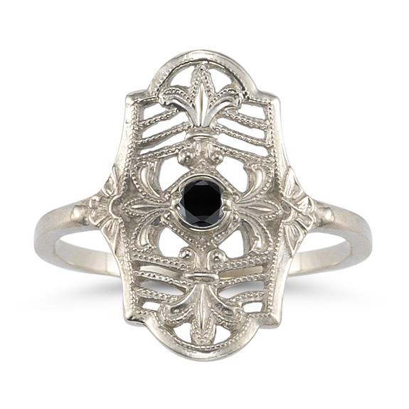 Vintage Fleur-De-Lis Black Diamond Ring in 14K White Gold