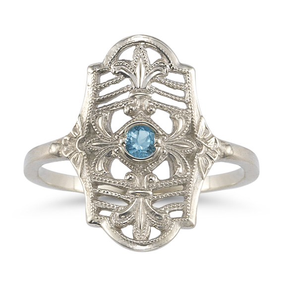 Vintage Fleur-de-Lis Blue Topaz Ring in 14K White Gold
