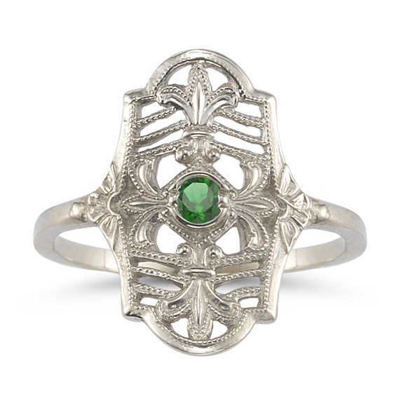 Vintage Fleur-de-Lis Emerald Ring in 14K White Gold