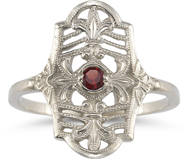 Vintage Fleur-de-Lis Garnet Ring in 14K White Gold