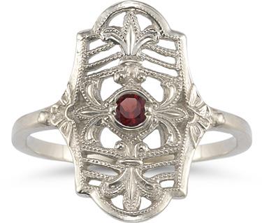 Vintage Fleur-de-Lis Garnet Ring in .925 Sterling Silver