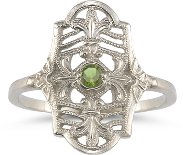 Vintage Fleur-de-Lis Peridot Ring in 14K White Gold