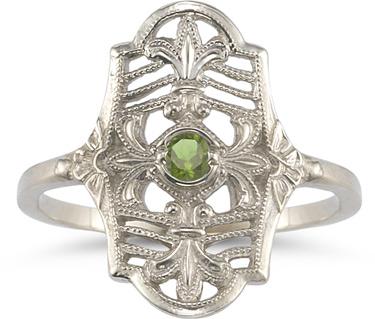 Vintage Fleur-de-Lis Peridot Ring in .925 Sterling Silver