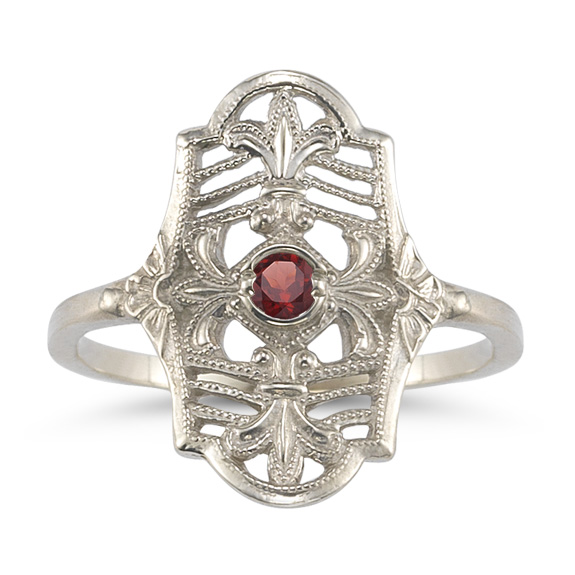Vintage Fleur-de-Lis Ruby Ring in 14K White Gold