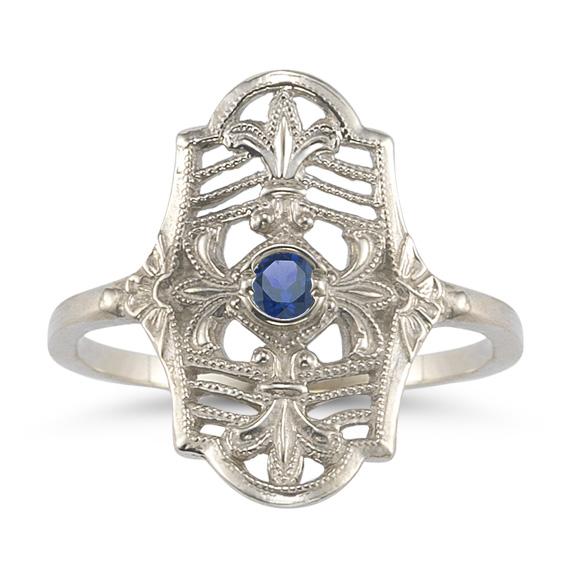 Vintage Fleur-de-Lis Sapphire Ring in 14K White Gold
