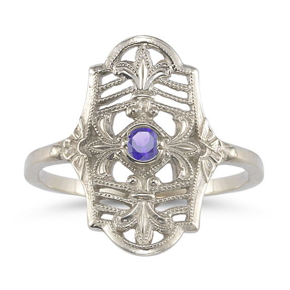 Vintage Fleur-de-Lis Tanzanite Ring in 14K White Gold
