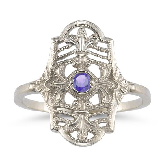 Vintage Fleur-de-Lis Tanzanite Ring in 14K White Gold