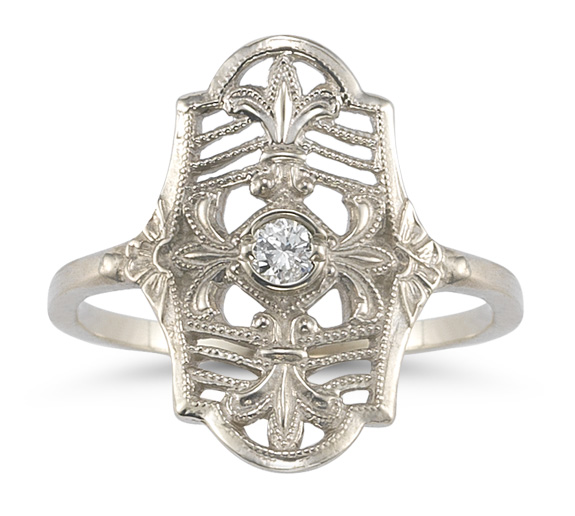Vintage Fleur-de-Lis Diamond Ring in 14K White Gold