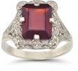Victorian Emerald-Cut Garnet Ring in 14K White Gold