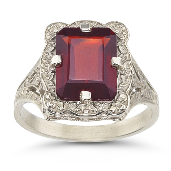 Victorian Emerald-Cut Garnet Ring in .925 Sterling Silver