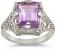 Vintage emerald cut amethyst ring in 14k white gold