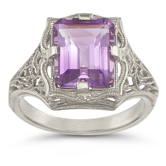 Vintage Emerald-Cut Amethyst Ring in 14K White Gold
