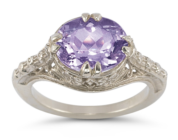 Buy Vintage Rose Amethyst Ring in 14K White Gold