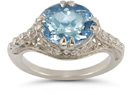 Vintage Rose Blue Topaz Ring in 14K White Gold