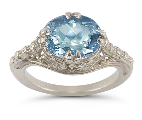 1950s Jewelry Styles and History Vintage Rose Blue Topaz Ring in .925 Sterling Silver $225.00 AT vintagedancer.com