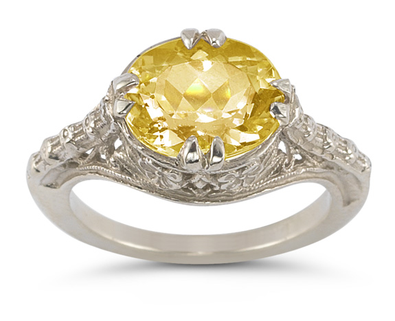 Vintage Rose Citrine Ring in 14K White Gold