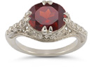 Vintage Rose Garnet Ring in .925 Sterling Silver