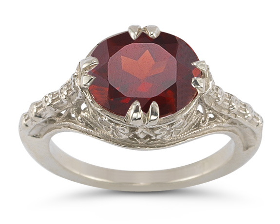 Vintage Rose Garnet Ring in 14K White Gold