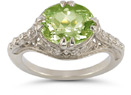 Vintage Rose Peridot Ring in .925 Sterling Silver