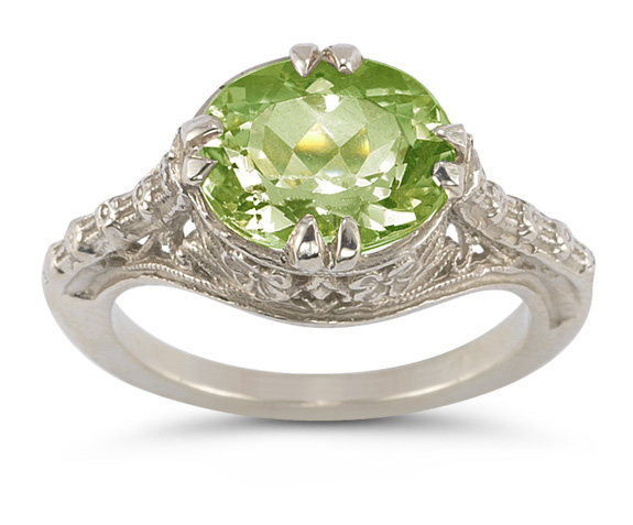 Vintage Rose Peridot Ring in 14K White Gold