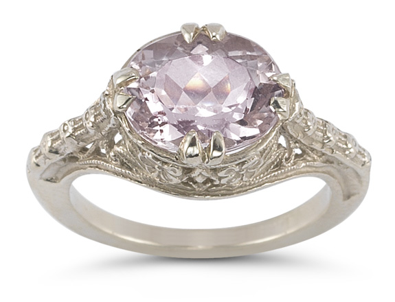 Vintage Rose Kunzite Ring in 14K White Gold