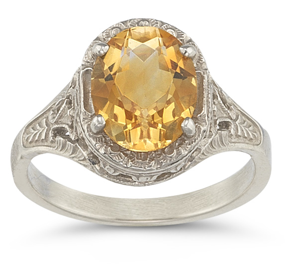 Victorian Floral Oval Citrine Ring in 14K White Gold