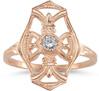 Vintage Diamond Cross Fleur-de-Lis Ring, 14K Rose Gold