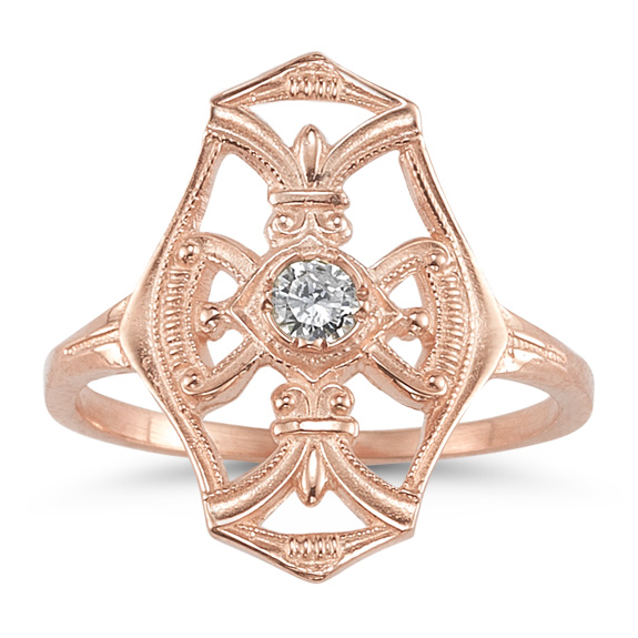 Vintage Diamond Cross Fleur-de-Lis Ring, 14K Rose Gold