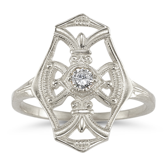 Vintage Diamond Cross Fleur-de-Lis Ring in 14K White Gold