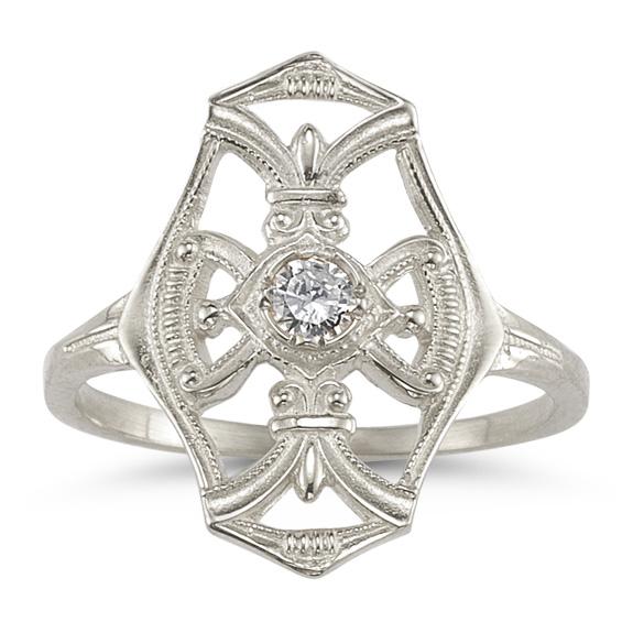 Vintage Diamond Cross Fleur-de-Lis Ring in 14K White Gold
