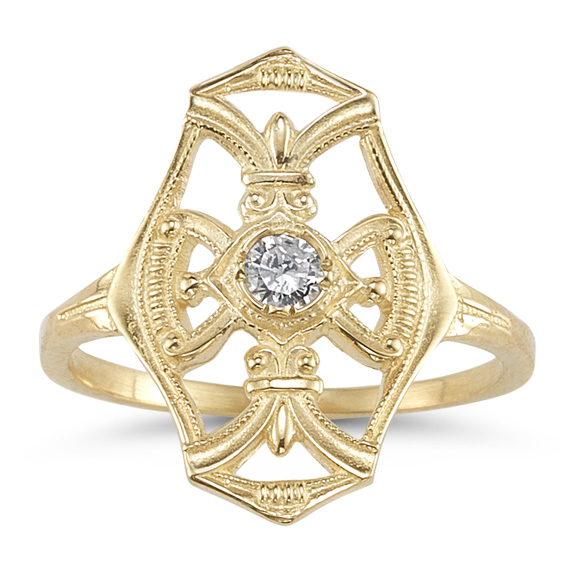 Vintage Diamond Cross Fleur-De-Lis Ring, 14K Yellow Gold