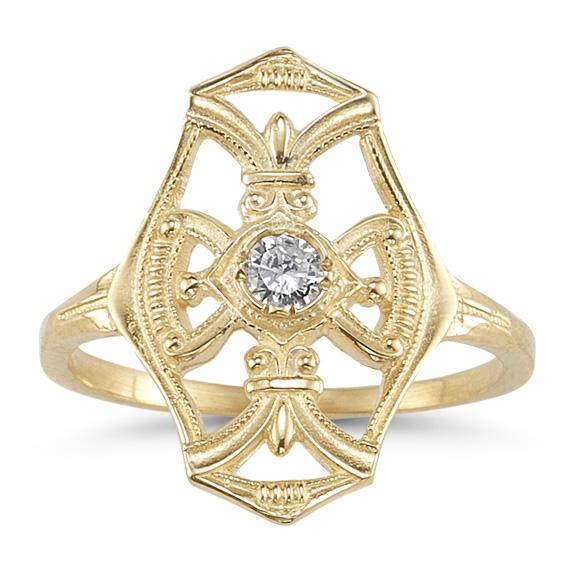 Vintage Diamond Cross Fleur-De-Lis Ring, 14K Yellow Gold