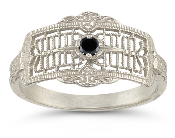 Vintage Filigree Black Diamond Ring