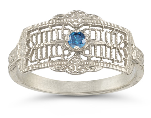 Vintage Filigree Blue Diamond Band in 14K White Gold