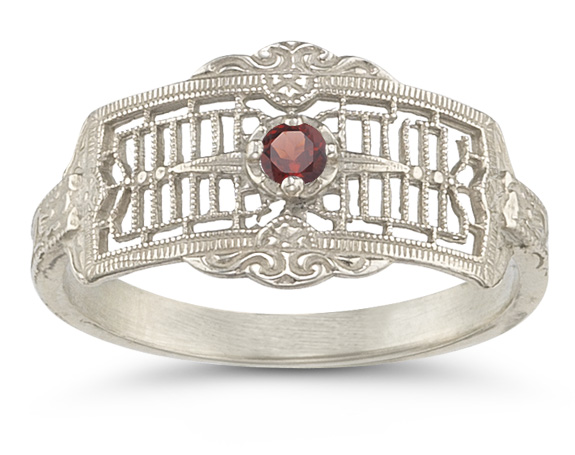 Vintage Filigree Garnet Ring in 14K White Gold