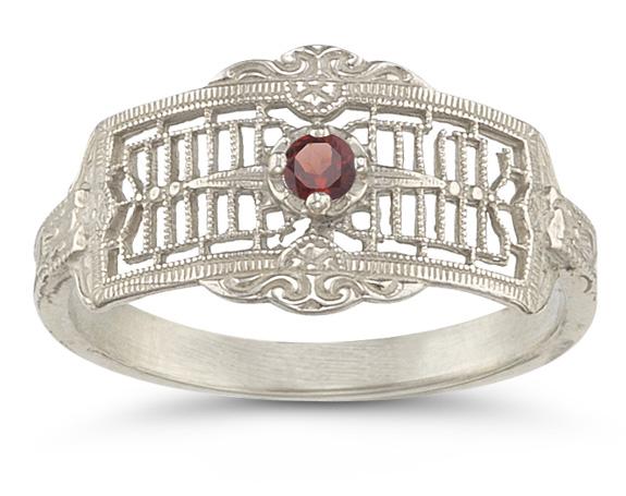 Vintage Filigree Garnet Ring in 14K White Gold